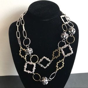 Chicos Gold & Silver Geometric Chainlink Necklace
